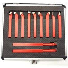 11 pièces 10*10mm,8*8mm pointe de carbure jeu de fraises brasées outils de fraise pour tour de CNC en métal, porte-outil de tournage de soudage