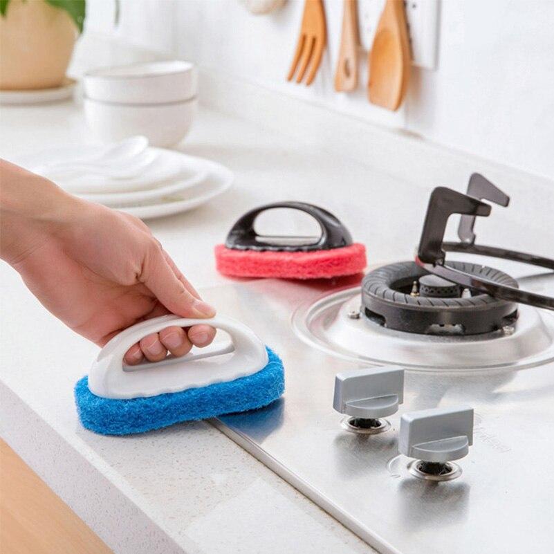 Handle House Cleaning Brush Strong Decontamination Bath Brush Sponge Rub Magic Sponge Tiles Brush Household Cleaning Tools
