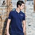Campamento de pioneros mens marcas polo azul oscuro camisa de polo sólido cómodo y transpirable 100% algodón polo homme 622044