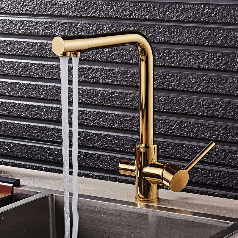 Gold/Black Kitchen Faucet Solid Brass Crane For Kitchen Deck Mounted Water Filter Tap Three Ways Sink Mixer 3 Way Kitchen Faucet цена