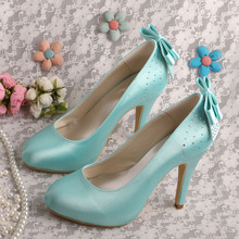 (20 Colors)Wedopus Red 2015 New Fashion High Heels Light Green Shoes Wedding  Autumn Back Bows