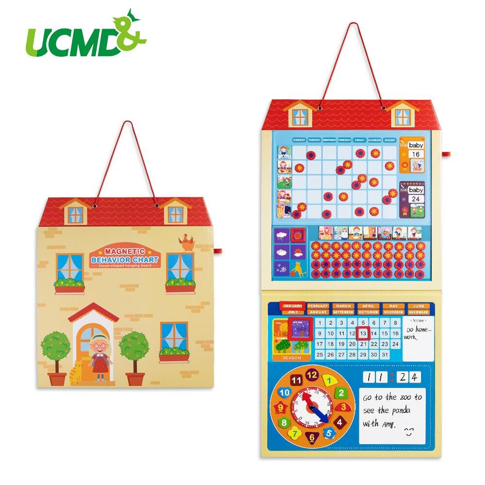Dessin animé magnétique calendrier enfants activité récompense comportement graphique apprentissage précoce jouets éducatifs quotidien hebdomadaire planificateur calendrier