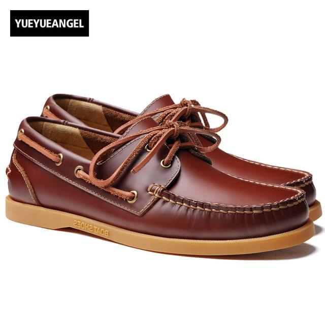 39b602614f 2018 homens genuínos barco sapatos de couro estilo britânico masculino  brogue plana sapato lazer moda artesanal