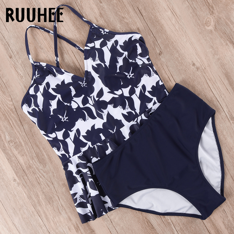HTB1CKFpeEGF3KVjSZFvq6z nXXa6 RUUHEE Bikini 2019 Swimsuit Swimwear Women High Waist Tankini Bikini Set Push Up Bathing Suit Women Beachwear Plus Size Swimwear