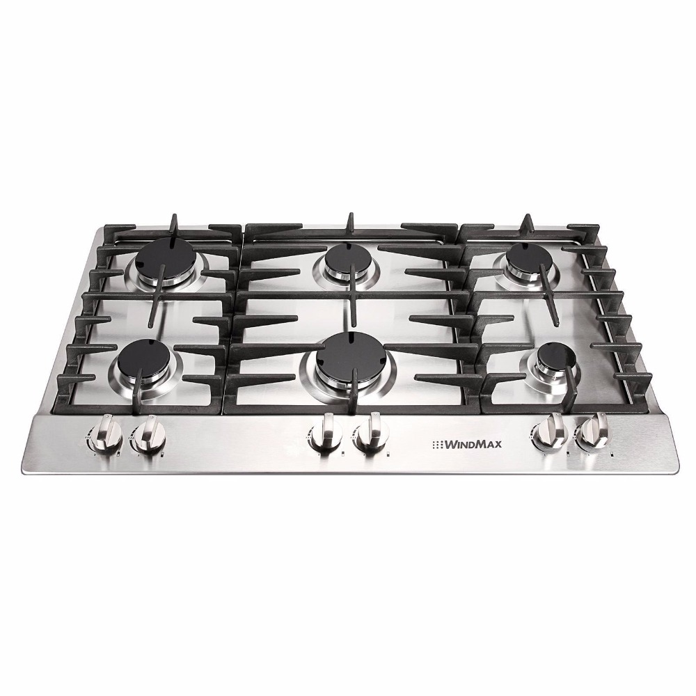 34 in stainless steel 6 burner builtin stoves ng gas cooktops household cooker
