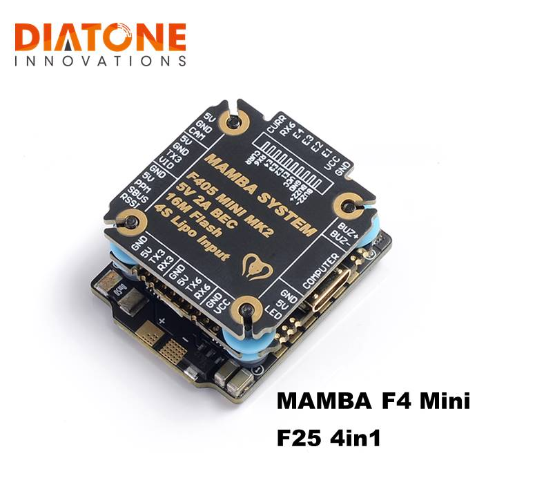 Diatone <font><b>MAMBA</b></font> <font><b>F405</b></font> <font><b>Mini</b></font> MKII Betaflight Flight Controller & 25A ESC 2-4S DSHOT600 stack FPV Racing Brushless ESC For RC image