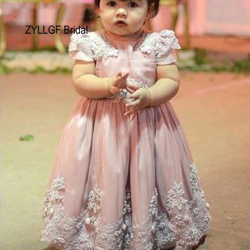 ZYLLGF Bridal Saudi Arabia Style   Flower     Girl     Dress   Cap Sleeve Luxury Appliques Beaded Toddler Kids   Dress   With Sash FP48
