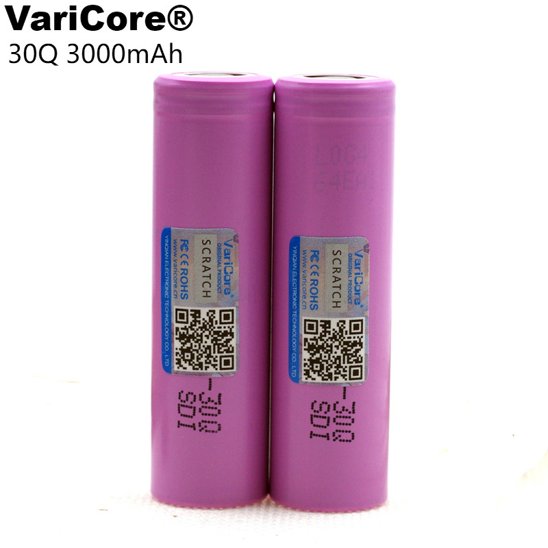 VariCore New INR18650 30Q 18650 3000mAh lithium Rechargeable battery For Electronic cigarette Batteries цена