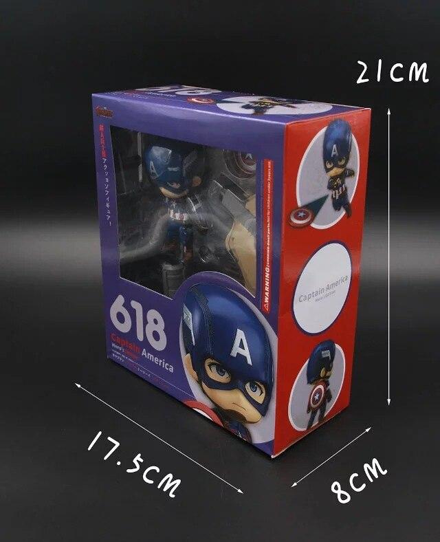 618# Captain America Civil War Iron Man Q version Nendoroid PVC Action Figures Model Collectible Toys 10cm 1