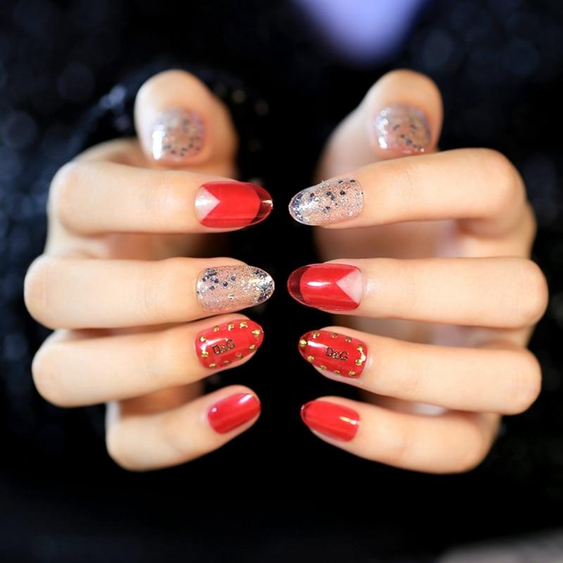 24pcs Individuality Fake Nails Glitter Sequins Nails Transparent