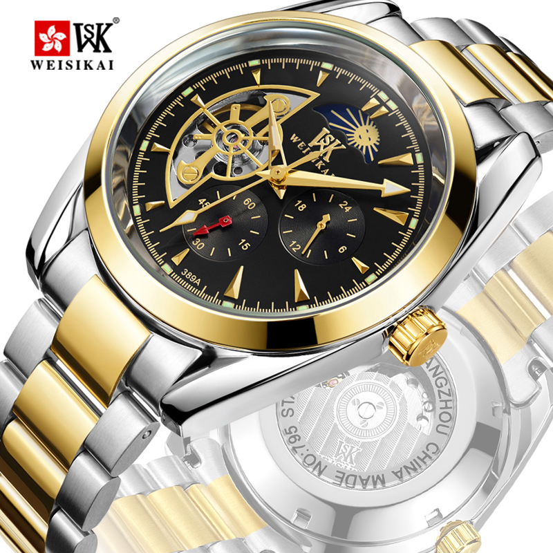 WEISIKAI Moon Phase Automatic Watch Men Hollow Out Mens Mechanical Watches Gold Luminous Wristwatch Male Clock montre homme WEISIKAI Moon Phase Automatic Watch Men Hollow Out Mens Mechanical Watches Gold Luminous Wristwatch Male Clock montre homme