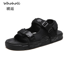 Whoholl Brand 2019 New Fashion Summer  Black Beach Breathable Men Sandals Mesh Leather Mens Sandal Man Causal Shoes Size 39-44