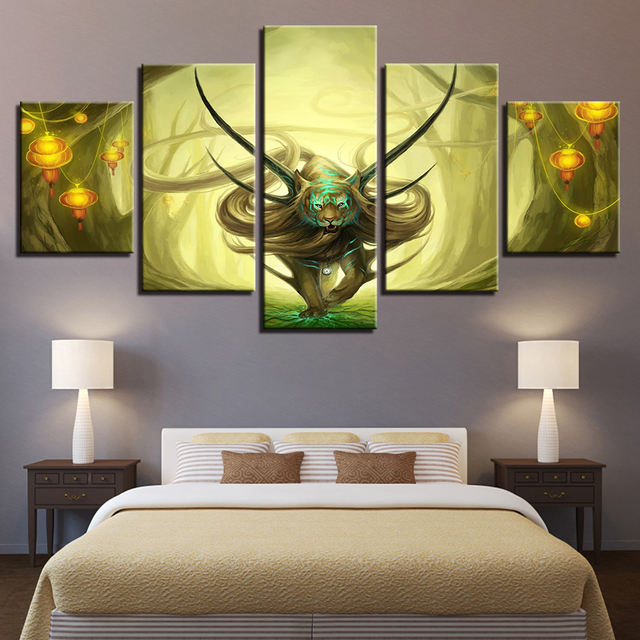Large Poster Hd Printed Painting Canvas Print 5 Panel Fantasy Lion King Home Decor Wall Art