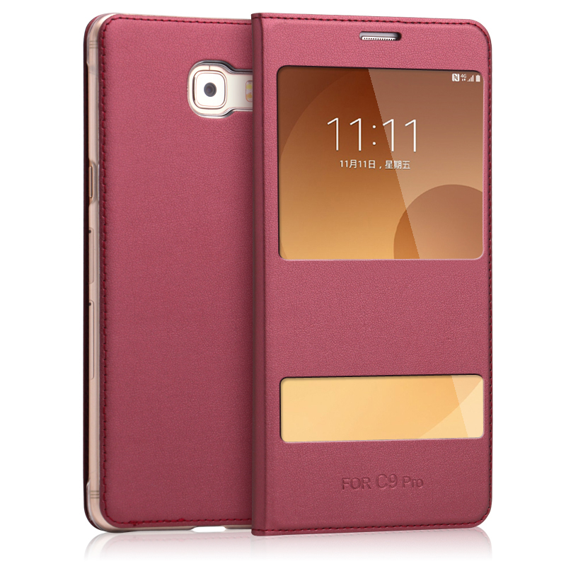 Cases for Samsung C9 Pro Dual Window View Flip Cover PU Leather Back Case for Samsung Galaxy C9 Pro 6.0 inch