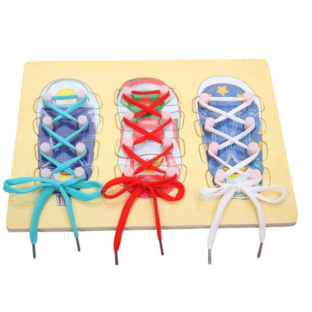 Montessori se especializa en los zapatos de aprendizaje de la primera infancia cordones para llevar juguetes educativos masculinos y femeninos para bebé 1-5 años