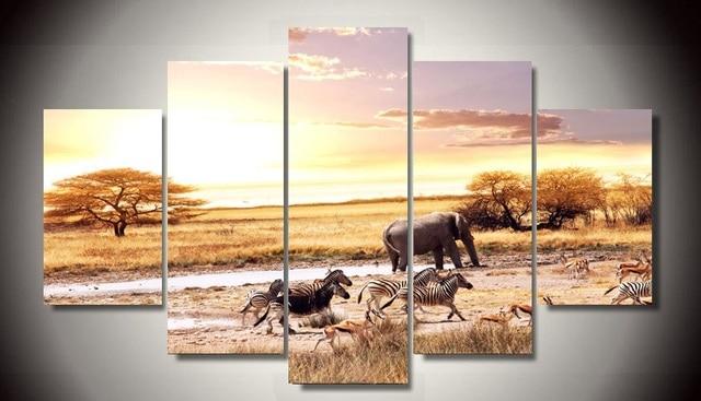 2017 Hot Sale Fallout Oil Painting Unframed African Landscape Zebra ...