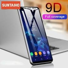 Suntaiho 9D 強化サムスンギャラクシー J4 プラス J6 J8 A6 A8 A7 2018 スクリーンプロテクター A5 A3 A7 2017 保護ガラスフィルム