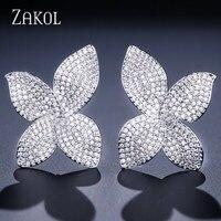 ZAKOL Роскошные серьги бабочки Цирконий Micro Pave Установка цветок большой серьги для женщин партии подарки FSEP2078
