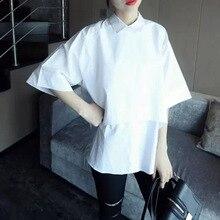 Nice Summer Nice Summer Women Blouse Cotton Blouses Half Sleeve Lapel Tops Ladies Office OL Shirt Casual Joker Blouse  CM0002