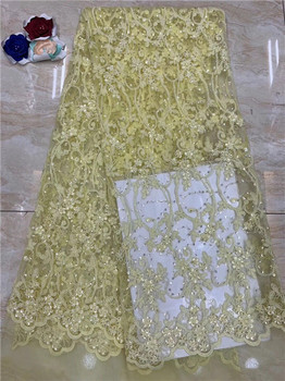 Free shipping (5yards/pc) high quality Yellow African net lace fabric shining sequins lace fabric for party dress(FJ-19-2