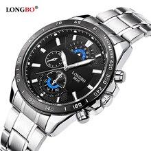 Longbo Hombres de Acero Inoxidable Banda Militar Deportes Relojes de Cuarzo Dial Reloj De Los Hombres Macho Ocio Reloj Relogio masculino 8835