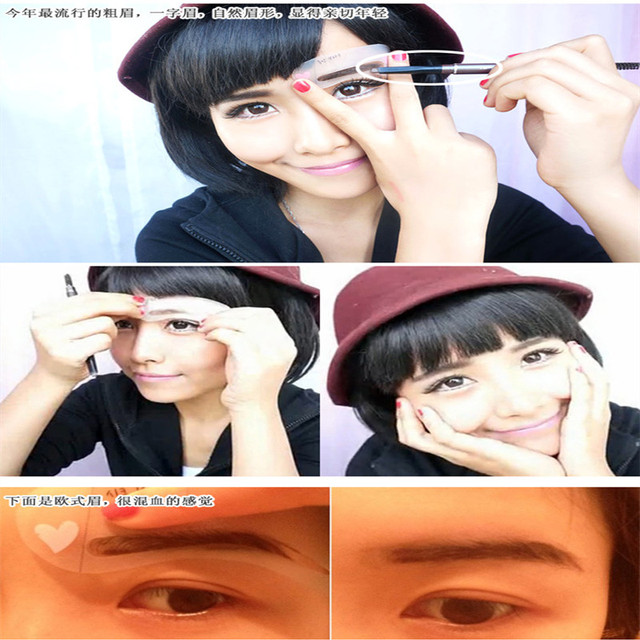 3 styles reusable Eyebrow stencil pencil for eyebrows enhancer drawing guide card brow template DIY make up tools #217 3