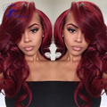 7a Unprocessed Brazilian Virgin Red Body Wave Wig Burgundy/99j Color Full Lace Human Hair Wigs Glueless Lace Front Wigs Instock
