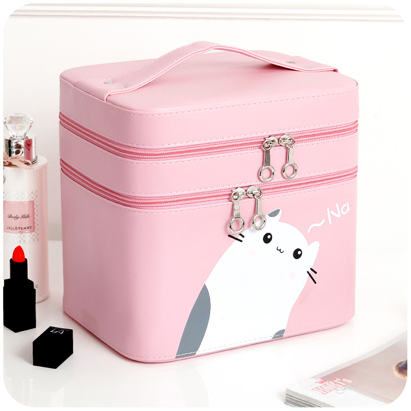 Women double layer Makeup Bags large capacity organizer Cosmetic bag Pouchs For Travel Ladies pouch necessaire Cosmetic Bags women travel cosmetic polka dots makeup double layer case pouch organizer bag