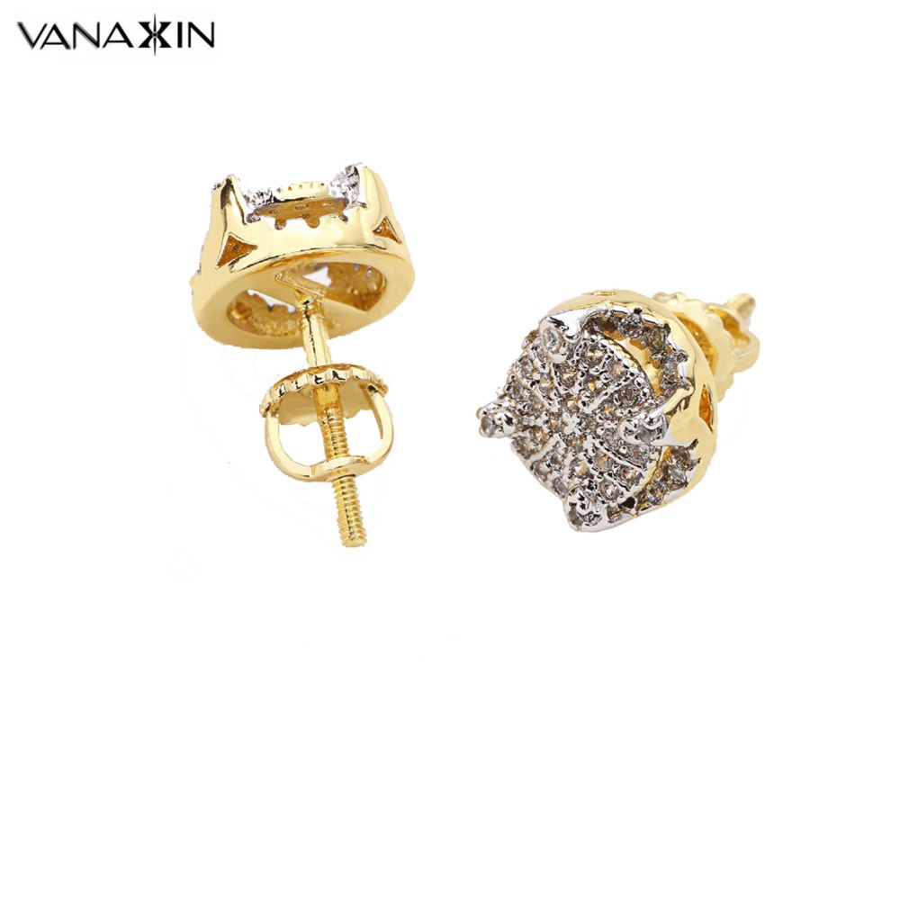VANAXIN 2017 Punk Full Iced Rhinestone Fine Quality CZ Crystal Stud Earrings For Women Men Earings Fashion Jewelry Gift Box Cute ...