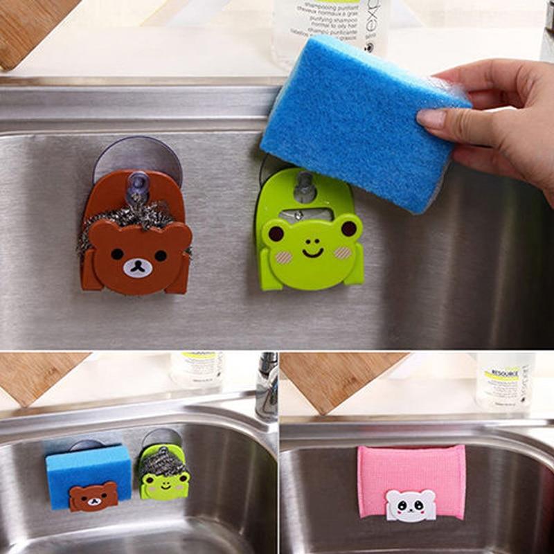Cartoon Bear Cat Wall Mounted Type Bathroom Storage Box Cat Soap Bar Holder Sponge Holder Kitchen Tools Hook Drain Shelf Bag