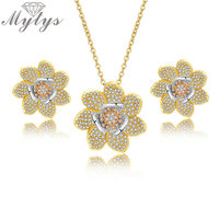 Mytys Full Mirco Cubic Zircon Pave Setting Jewelry Sets Flower Pendant Necklace Stud Earrings Sets for Women 3 Tone Gold Sets