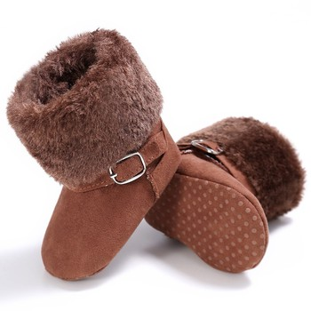 Winter Lovely Warm Fleece Style Boots Anti-skid Cack Shoes New Unisex Snow Kids Baby Girls Boys Round Toe Ankle Flat With Buckle haraval handmade winter woman long boots luxury flock round toe soft heel shoes elegant casual warm retro buckle solid boots 289