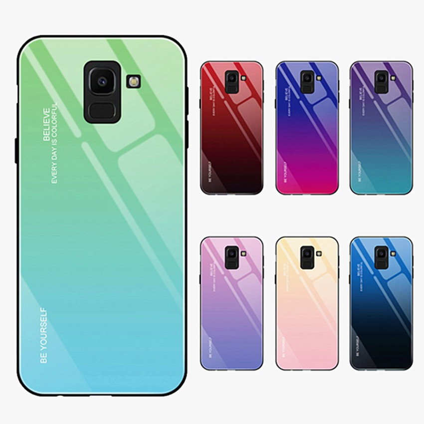 Tempered Glass Phone Case For Samsung Galaxy S8 S9 S10 Plus A5 2017 A7 A6 A8 J4 J6 Plus J8 2018 Note 8 9 Gradient Color cover in Fitted Cases from Cellphones Telecommunications