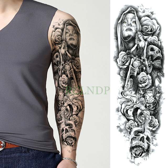 99213d11d Waterproof Temporary Tattoo Sticker Skull Motorcycle Rose full arm large  size fake tatto flash tatoo sleeve