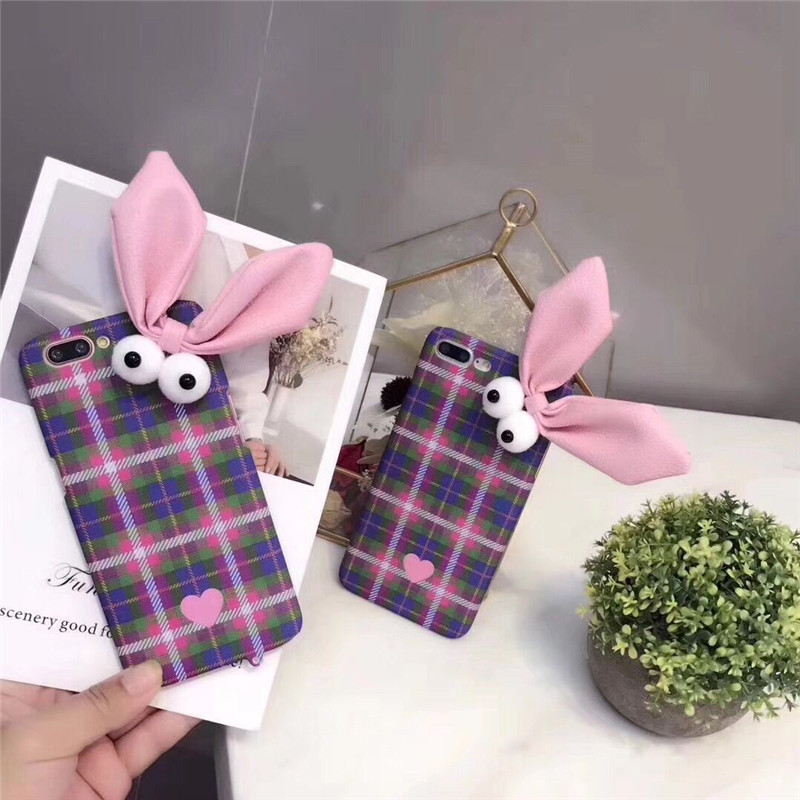 Cute 3D Cartoon Rabbit Hard PC Mobile Phone Bags For iPhone6 6S 6Plus Check Land Grid Cellphone Case Protective Shell Back Cover