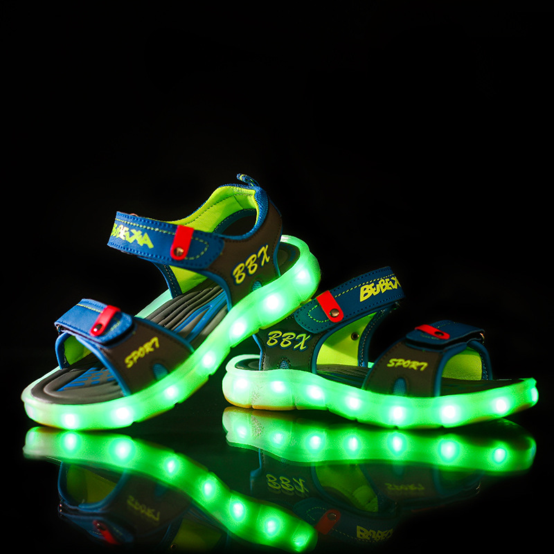 Fashion Children Luminous Sandals New USB Charging Letter Led Light Emitting Shoes Boys Girls Cool Summer Beach Sandals