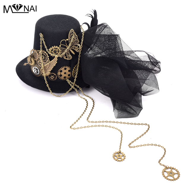 da2ab34c347d6 Mens Fedora Hat Steampunk Fascinator Mini Top Hat Hair Clip Punk Gothic  Gear Wings Clock Butterfly