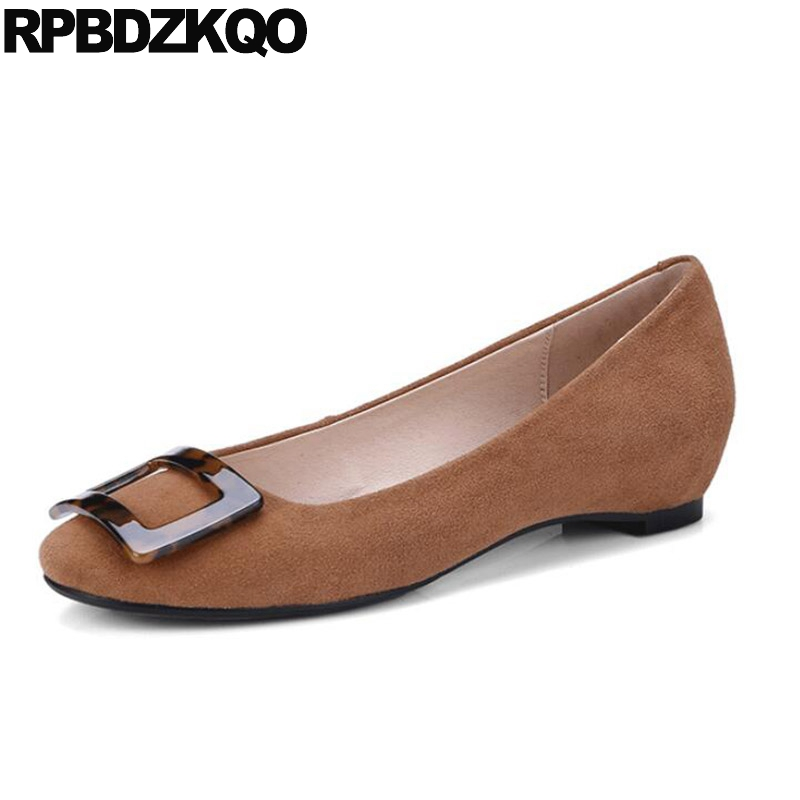 Round Toe Flats Slip On Suede Italian Women Height Increasing Elevator Designer Work Brown Black Wide Fit Shoes Square Buckle
