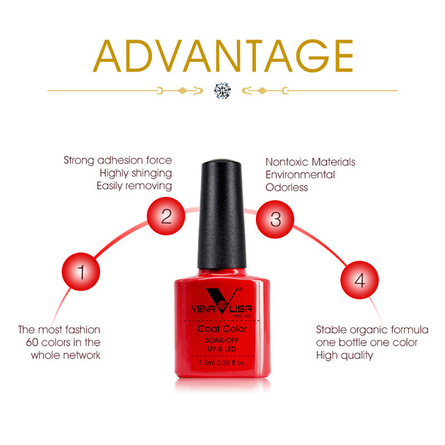 VENALISA Nail Gel Polish High Quality Nail Art Salon 60 Hot Sale Color 7.5ml VENALISA Soak off Organic UV LED Nail Gel Varnish 1