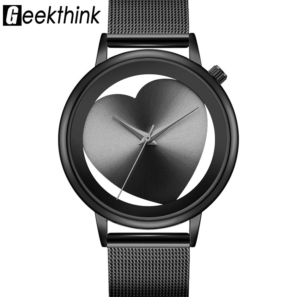 Creative Hollow Women Quartz Watches Analog Black Stainless Steel Mesh Band Brand Designer Wristwatch Fashion Dress Relogios