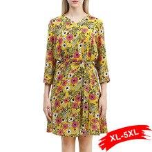 f67cb8b25f1 Grande taille col en v imprimé Floral trois quarts manches jaune robe 4XL  5XL femmes travail porter Chic robe courte femme