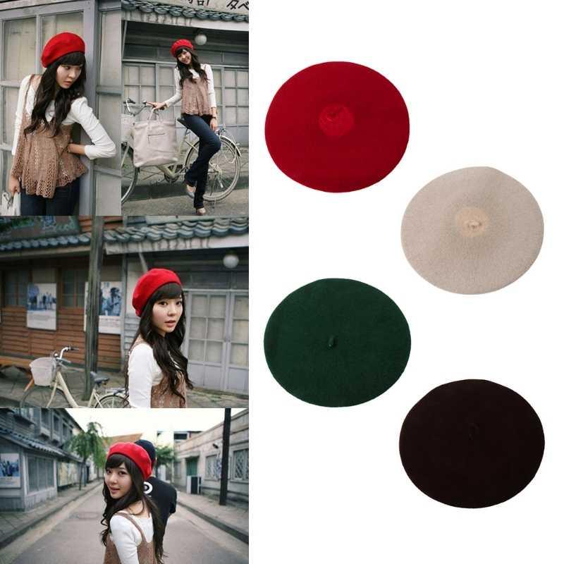 Модные женские туфли шляпа шерсть Берет без полей теплые зимние взрослых Сплошной Кепки Французский Берет