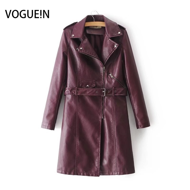 VOGUEIN 2018 New Womens Fashion Faux   Leather   Jackets Long Coat Outerwear Coat with Belt 4 Colors Wholesale