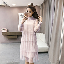Litfun 2018 Spring Summer Korean Lace Women Tulle Dress Long Sleeve Loose Dot Pleated Mesh Tiered layer Vintage Mesh Dress Black tiered bell sleeve fitted lace dress