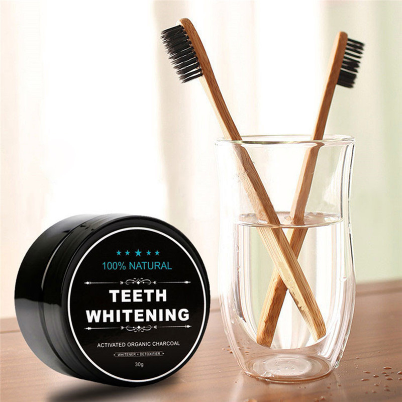 Natural Teeth Whitening Charcoal Powder Toothbrush Tartar Stain Removal Tooth Whitening Powder Dental Tools Teeth Whitening Kit