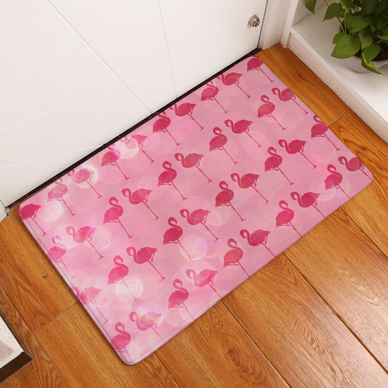 Flamingo Pattern Front Door Mats Home Decor Bedroom Floor Mats Water absorbent Kitchen Rugs Bathroom Floor Rugs Bath Mats