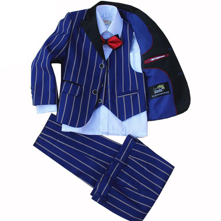 4 Pieces set jacket+vest+pants +bow tie Children Formal Suit Jacket Wedding boys Dress Suit Stripe jacket size 2years 12 years
