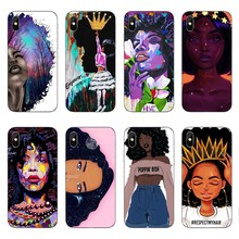2bunz Melanin Poppin Aba Soft Silicone Phone Case for iPhone X 6 7 8 plus 5 5s se 6s Fashion Black Girl Cover For Coque