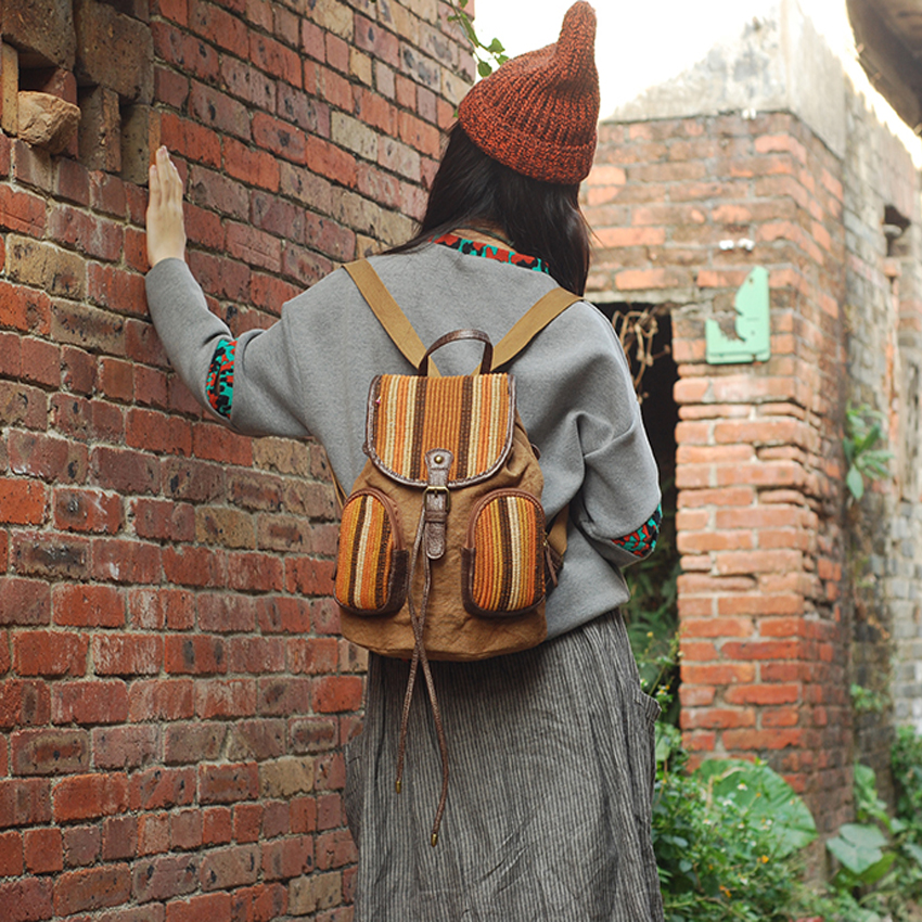 YUBIRD Mochila con cordón Mujer Mochila de Lona Bolsas de Escuela Universitaria para Niñas Remiendo Mochila de Viaje Mujer mochila tela
