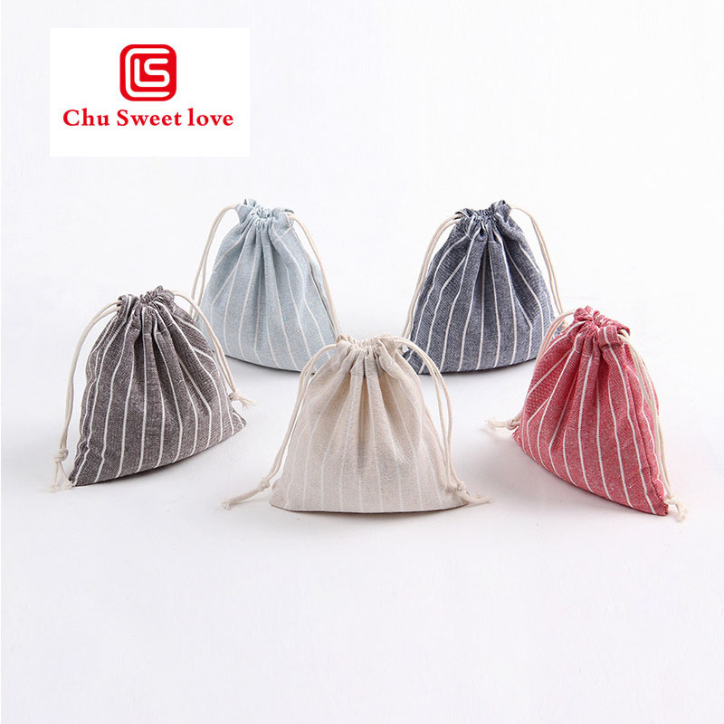 Woman Stripe Drawstring Bags Travel Pouch Storage Clothes Handbag Cotton Girl Shoes Bags Makeup Bag High Quality 2019 Fashion